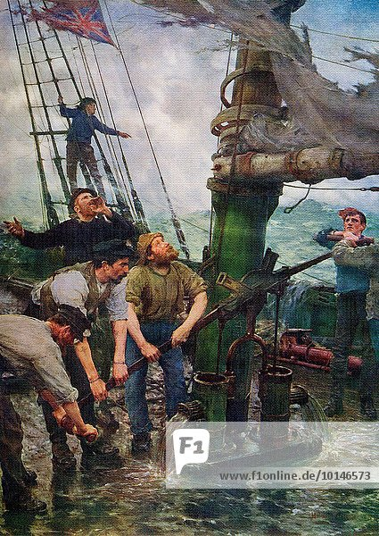 This painting is by the British/Cornish artist and photographer Henry Scott Tuke (1858-1929). It dates to 1888-89. It shows a ship with one sail gone being swamped by a storm and the crew desperately trying to pump water out of the hull. At the time Tuke painted it  he was living on an old French brig in Falmouth Harbor.