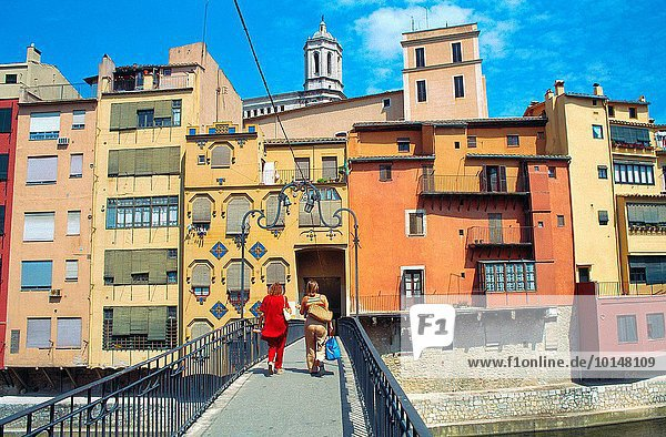Fußgängerbrücke Stadt Gerona alt Spanien