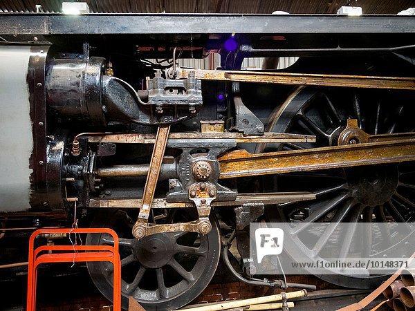 Großbritannien Wasserdampf Retro Zug Wartung warten Mittelpunkt groß großes großer große großen Leicestershire Lokomotive Schuppen Haltestelle Haltepunkt Station