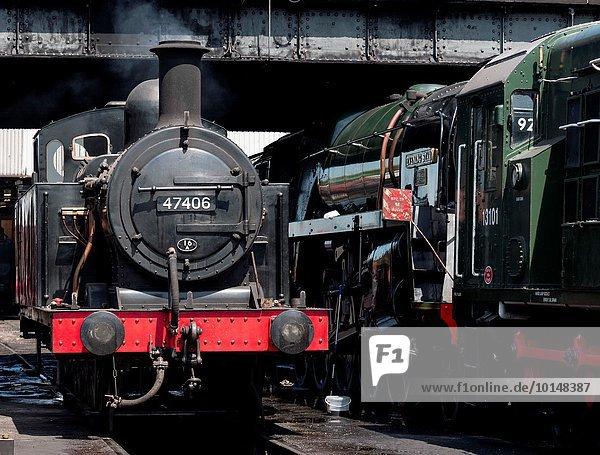 Großbritannien Wasserdampf Retro Zug Mittelpunkt groß großes großer große großen Leicestershire Lokomotive Haltestelle Haltepunkt Station