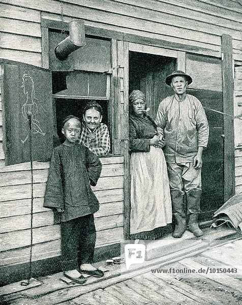 This image is from a photograph taken by American photographer I.W. Taber (1830-1912) shows a family in the Highbinders' Quarter in San Francisco. Highbinders refers to an area in a U.S. city that is heavily populated by Chinese  an area also commonly referred to as Chinatown.