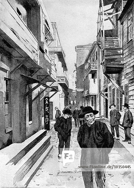 This 1896 illustration of an alley in San Francisco's Chinatown at the time. It is based on a photograph by California photographer I.W. Taber (1830-1912).