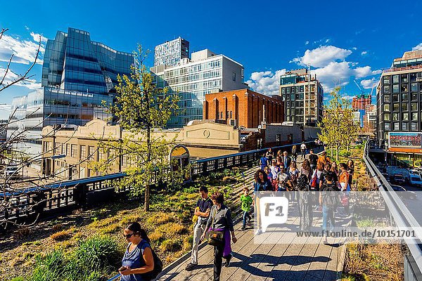 Elevated park The High Line is a 1. 45-mile-long New York City linear park built in Manhattan on an elevated section of a disused New York Central Railroad spur called the West Side Line. New York  New York USA.