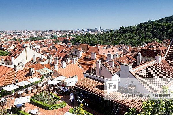 Aerial view of Prague  Czech Republic.