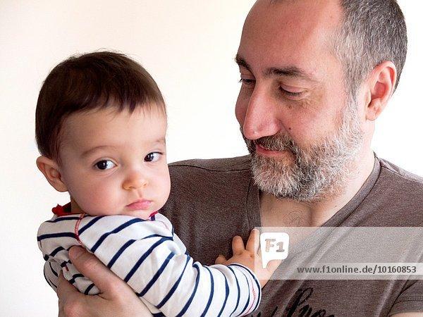 Menschlicher Vater Sohn halten 1 alt Jahr