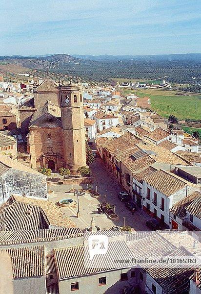 Baños de la Encina  view from above. Jaen province  Andalucia  Spain.