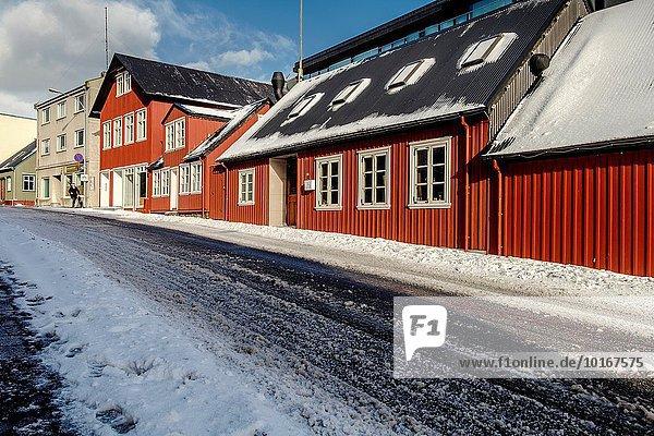Reykjavik Hauptstadt Farbaufnahme Farbe Winter Gebäude Stadt Großstadt Fassade Hausfassade Island alt
