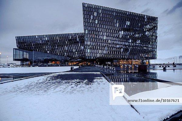 Reykjavik Hauptstadt Hafen Winter Gebäude Halle Klassisches Konzert Klassik Konzert Harpa Island