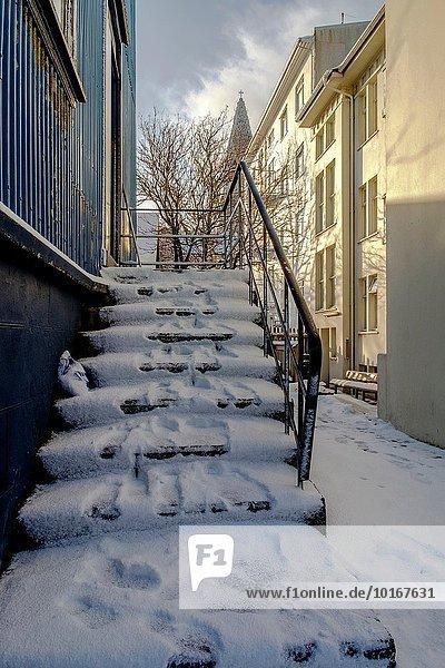Reykjavik Hauptstadt Winter Stadt Großstadt Island alt