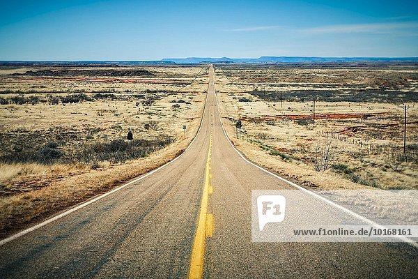 Lange gerade Straße durch die Wüste bis zum Horizont  Route 66  Arizona  USA  Nordamerika