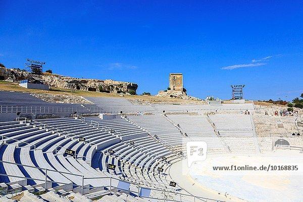 6th Century BC Greek amphitheatre in Latomia del Paradiso  Neapolis District  Syracuse  Sicily  Italy. The amphitheatre is now used for Italian Opera.