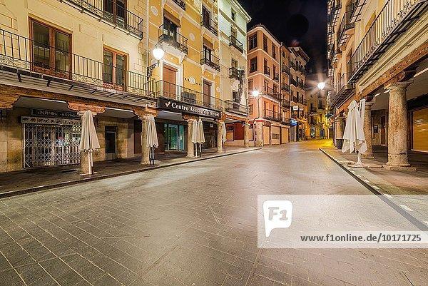 Nacht Stadtplatz Aragonien Spanien