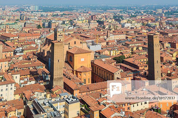 Bologna  Emilia-Romagna  Italy. Overall view of the historic centre of the city. Torre Prendiparte on right of Metropolitan cathedral of Saint Peter. The Azzoguido  or Altabella tower on the left.
