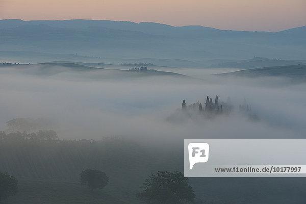 Podere Belvedere  Bauernhaus  Blick auf das Orcia-Tal bei Sonnenaufgang im Nebel  Toskana  Italien  Europa