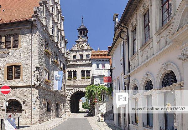 Maintor und Rathaus  Marktbreit  Unterfranken  Bayern  Deutschland  Europa