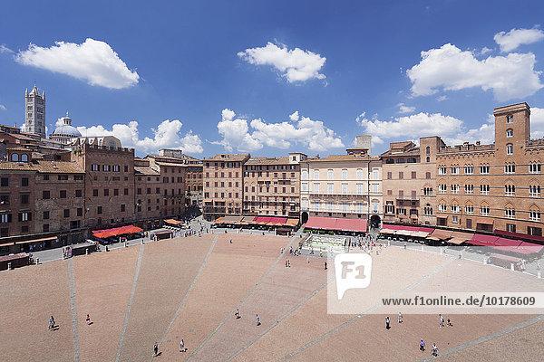 Piazza del Campo  Dom Santa Maria Assunta  UNESCO Weltkulturerbe  Siena  Toskana  Italien  Europa