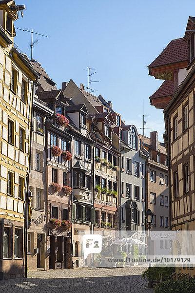 Alte Handwerkshäuser in der Weißgerbergasse  Sebalder Altstadt  Nürnberg  Mittelfranken  Franken  Bayern  Deutschland  Europa