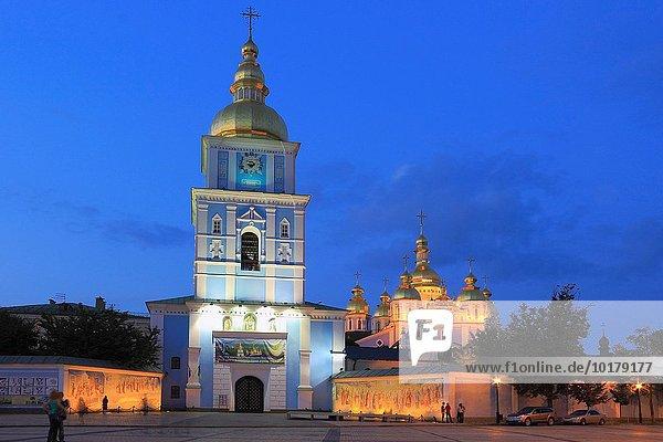 St Michael´s Golden-Domed Monastery at Dusk  Kiev  Ukraine.