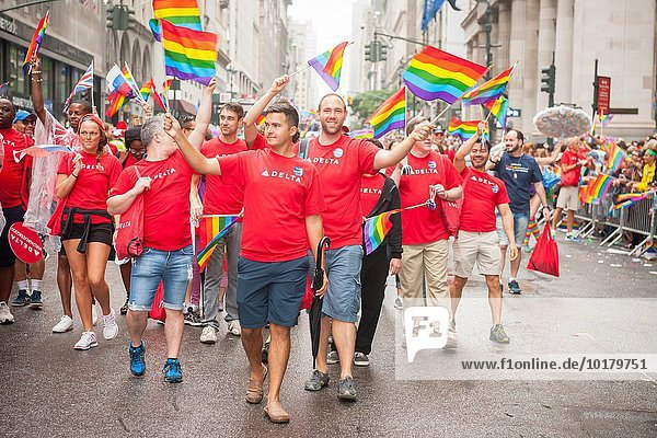 Delta Airlines employees and supporters in the annual Lesbian,  Gay,  Bisexual and Transgender Pride Parade on Fifth Avenue in New York