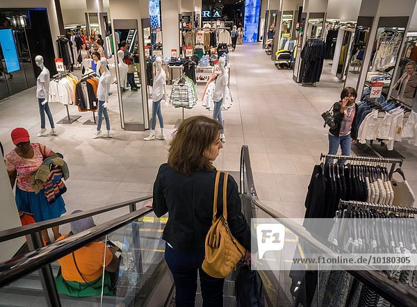 Shoppers in a Zara store on Fifth Avenue in New York