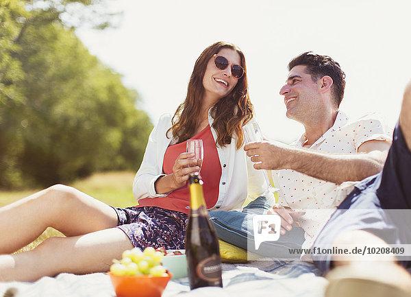 Pärchen trinkt Champagner auf Picknickdecke im sonnigen Feld