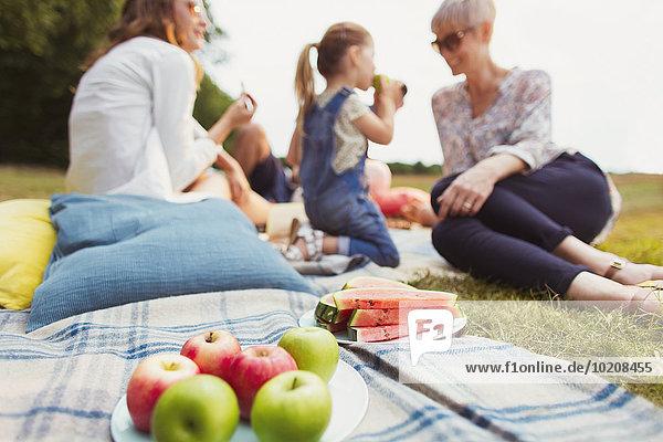 Äpfel und Wassermelone auf Picknickdecke nahe der Mehrgenerationenfamilie
