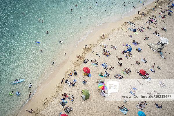 Strand Tourist Ansicht Luftbild Fernsehantenne