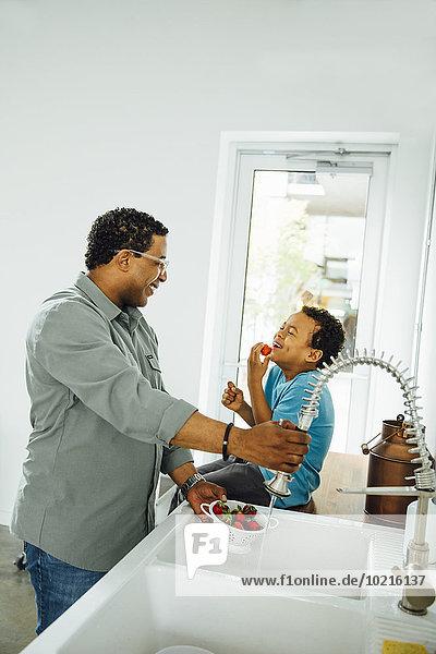 Spülbecken Menschlicher Vater Sohn waschen Küche Erdbeere Spülbecken,Menschlicher Vater,Sohn,waschen,Küche,Erdbeere