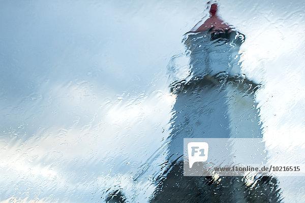 sehen Fenster Regen Leuchtturm Norwegen