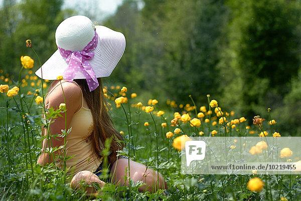 sitzend Jugendlicher Europäer Blume Feld Mädchen sitzend,Jugendlicher,Europäer,Blume,Feld,Mädchen