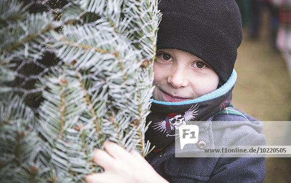 Portrait des Jungen mit eingewickeltem Weihnachtsbaum