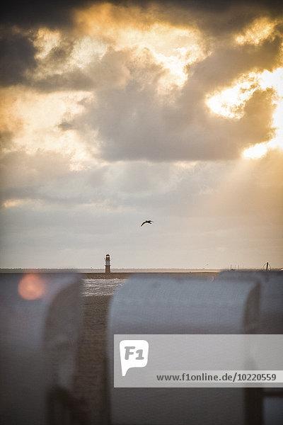 Deutschland  Mecklenburg-Vorpommern  Warnemünde  Liegestühle am Strand bei Sonnenuntergang