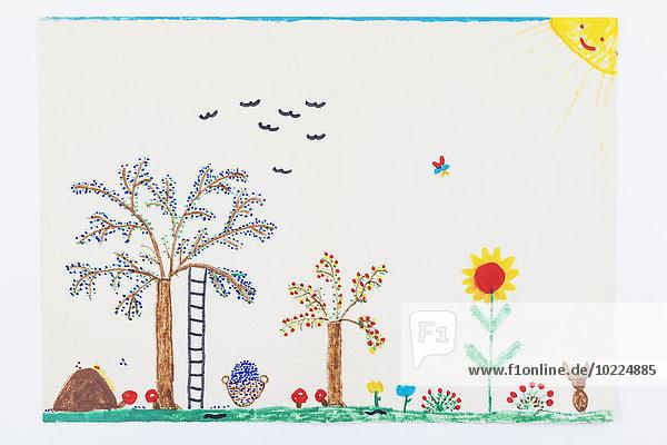 Kinderzeichnung  Garten  Pflaumenbaum  Blumen