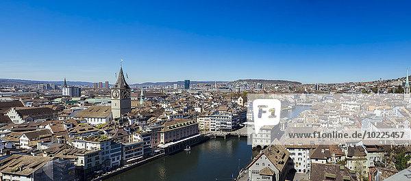 Schweiz  Zürich  Altstadt-Panorama  Limmat
