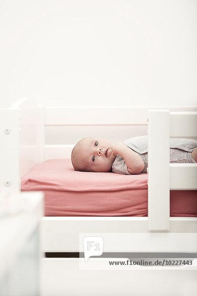 Porträt eines auf einem Kinderbett liegenden Babys Porträt eines auf einem Kinderbett liegenden Babys