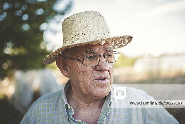 Portrait eines Bauern mit Strohhut