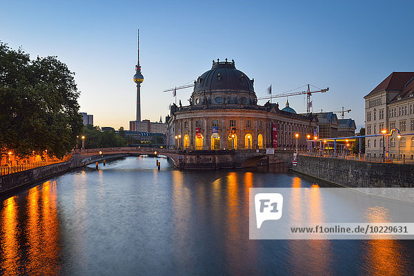 Germany  Berlin  Bode Museum and TV Tower at dawn