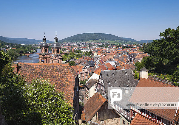 Germany  view to Miltenberg with spires of St. Jacobus Church
