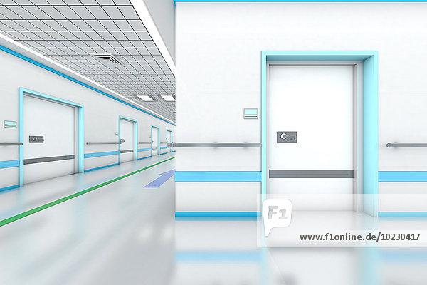 3D gerenderte Darstellung  modernes Krankenhaus