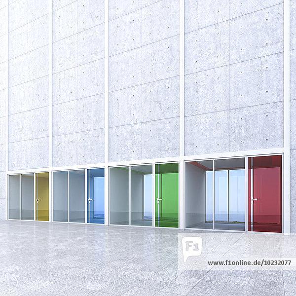 3D Rendring  moderne Architektur  Büros  bunte Glastüren  Innenhof