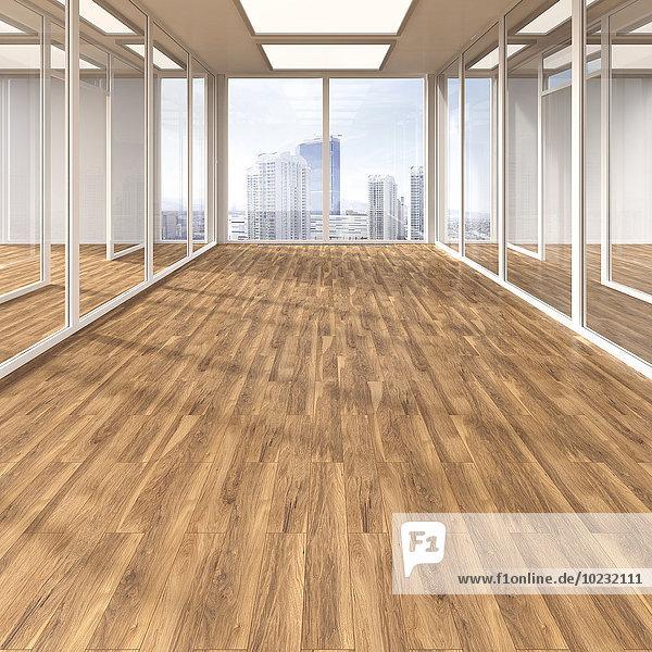 Leerer Konferenzraum mit Parkett- und Glastrennwänden  3D-Rendering