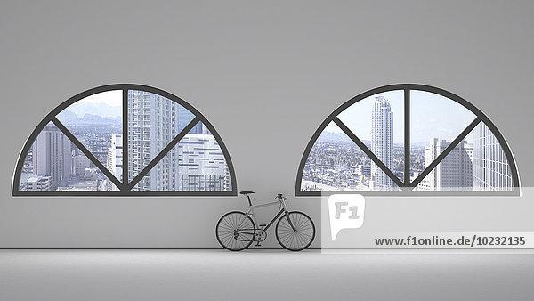 Loft mit zwei Rundbogenfenstern und an die Wand gelehntem Fahrrad  3D-Rendering