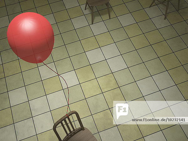 Roter Ballon an Rückenlehne gebunden  3D Rendering