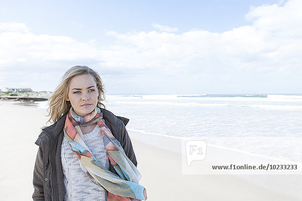 South Africa  Cape Town  woman standing on the beach