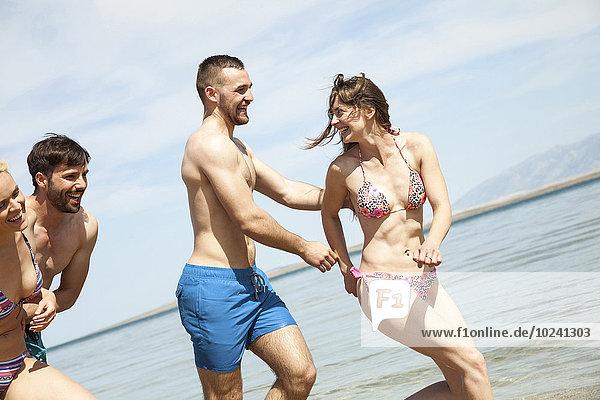 Freundschaft Strand Spaß