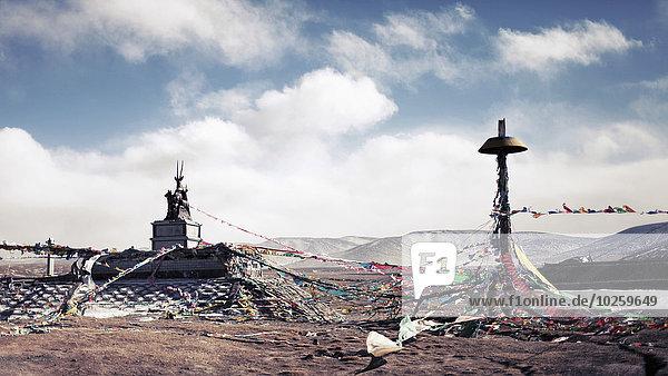 Verwirrte Ammer am Berg gegen bewölkten Himmel  Yushu Tibetische Autonome Präfektur  China