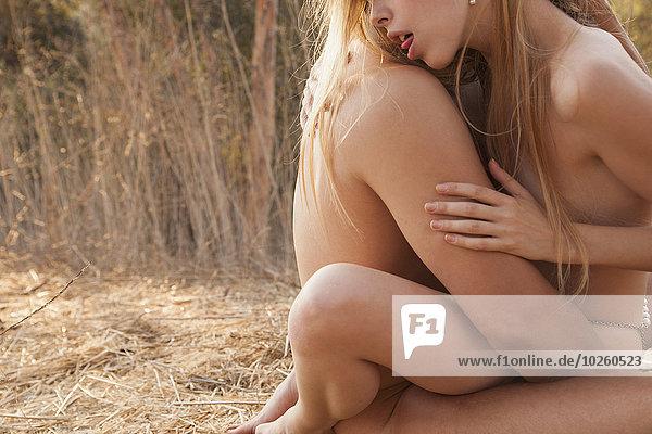 Seitenansicht eines intimen nackten Paares  das sich in der Natur liebt