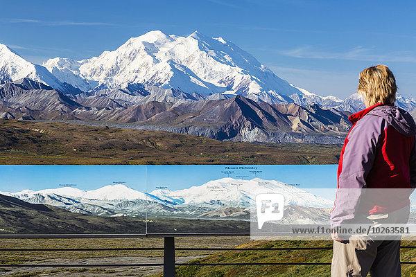 Vereinigte Staaten von Amerika USA Nationalpark Landschaftlich schön landschaftlich reizvoll einsteigen Frau Sommer Tourist Gast Fokus auf den Vordergrund Fokus auf dem Vordergrund Ansicht Denali Nationalpark Mount McKinley Besucherzentrum Information