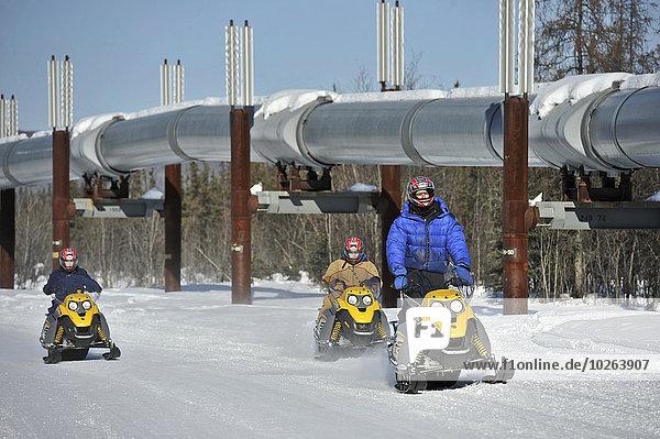nahe Anschnitt Außenaufnahme Führung Anleitung führen führt führend Abenteuer Fernverkehrsstraße Heiße Quelle Tagesausflug Hund vorwärts Schneepflug Eisen Pipeline