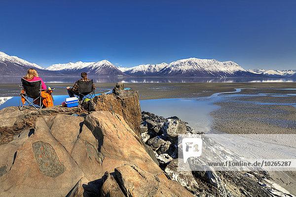 nahe sitzend Berg Fröhlichkeit Ansicht vorwärts Turnagain Arm Kenai-Fjords-Nationalpark Hoffnung Halbinsel